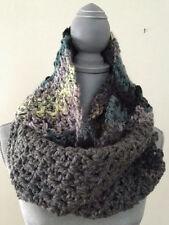 "crochet handmade COWL SCARF multi GREY SUPER BULKY chunky acrylic yarn 104"" X 8"""