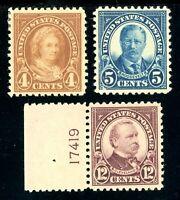 USAstamps Unused XF US 1922 Flat Press Printing Scott 556, 557, 564 OG MHR