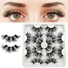 Falsche Wimpern Fiber 7 Pairs 3D Wispy Cross Long Thick Soft Fake Eye Lashes #A2