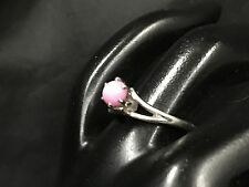 VINTAGE 14k White Gold PINK STAR RUBY RING  SIZE 6