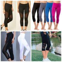 Women Yoga Capris Pants Fitness Leggings Training Gym Elastic Workout Trousers