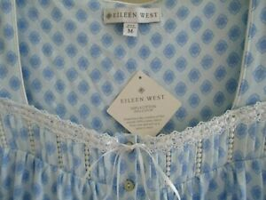 NEW EILEEN WEST NIGHTGOWN WALTZ SLEEVELESS COTTONJERSEYKNIT EBLUE GEO PRINT  M