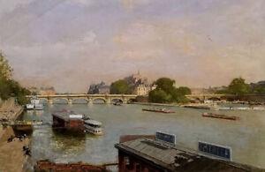 Oil painting Luigi Loir - paris ile de la cite with bridge cityscape hand paint