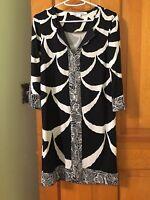 Diane Von Furstenberg REINA 100% Silk Jersey Black/Off White Dress DVF NWOT!!