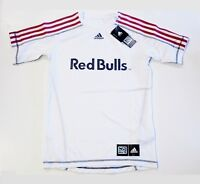 New York Red Bulls MLS Adidas Soccer Jersey White w/ Red Stripes Shirt Men's L