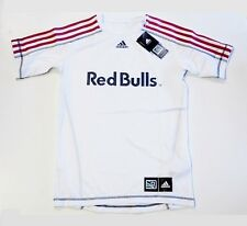 New York Red Bulls MLS Adidas Soccer Jersey White w/ Red Stripes Shirt Youth XL