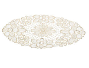 Cream Pack of 6 Floral Lace Oval Doilies Traditional Table Dressing Home Mats