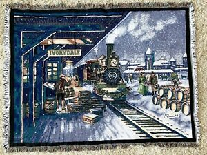 Ivory Dale Train Tapestry Throw Blanket THE NORTHWEST COMPANY Made In USA