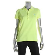 Polo Ralph Lauren 9820 Womens Yellow Skinny Mesh Polo Top Shirt L BHFO