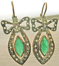 RARE VINTAGE ESTATE RETRO 14K YELLOW GOLD DIAMONDS EMERALD LARGE BOW EARRINGS !!