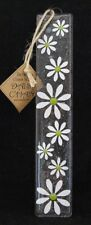 Designer Fused Glass Wall Hanging Daisy White and Lime Green 25cm