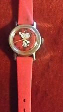 VINTAGE SNOOPY PEANUTS TIMEX RED DIAL WITH SNOOPY HOUR MINUTE HANDS MANUAL WIND!