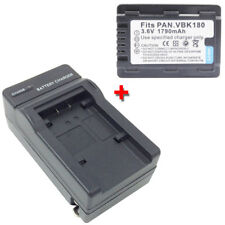 VW-VBK180 Battery+Charger for PANASONIC SDR-T50PC SDR-T55 SDR-T55GK SDR-T55K Cam