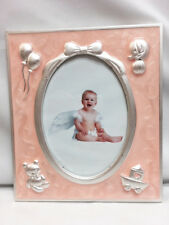 New Baby Girl's Enamel Pink With Silver Accents Center Photo Oval Picture Frame