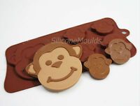 4+1 Monkey Ape Chocolate Candy Cookie Silicone Bakeware Mould Cake Baking Topper