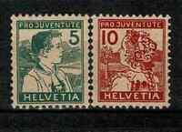 "SWITZERLAND YVERT 149 - 150 "" FOR YOUTH 2 STAMPS 1916 "" MNH F-VF V270"