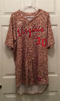 Virginia UVA Cavaliers Baseball Game Worn Camo Camouflage #30 Jersey Size 46