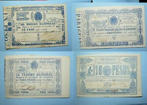 1862-65 PARAGUAY 4 NOTE COLLECTION 21 22 23 26 XF/UNC. HIGH GRADE PM125-16