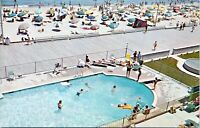 Rehoboth Beach Boardwalk Atlantic Sands Hotel Pool Delaware Postcard Chrome AB