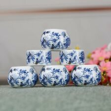 1set 6pcs Asian Bamboo Bird Cage blue and white porcelain cups
