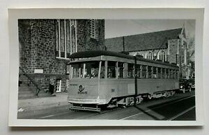 Vintage Photo Snapshot Baltimore Transit Co Trolley Streetcar #6065 church auto