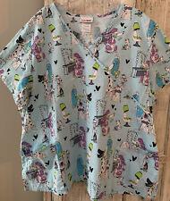 Womens Plus 3x size Print scrub tops/ PewterScrub Bottom