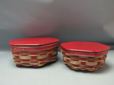 "New Listing(2) Longaberger 2012 Crimson Hill 10"" & 8"" Baskets w/ Lids & Protectors"