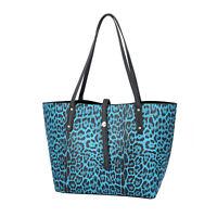 Blue Leopard Pattern Faux Leather Tote Bag Women Trendy Handbag Shoulder Bag