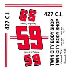 #59 Tom Pistone 1964 Ford Twin City Body Shop 1/64th HO Scale Slot Car Decals
