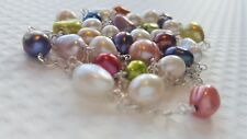 MULTI COLOURED FRESHWATER CULTURED PEARLS AND STERLING SILVER NECKLACE.