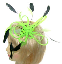 Marron clair Vert paon faisan Feather Hat Fascinator races Cheltenham 7942