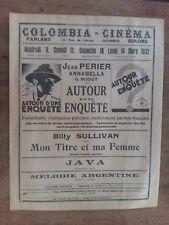 Programme Cinema Colombes AUTOUR D'UNE ENQUETE jean PERIER    ANNABELLA  1932
