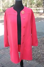 New 38 Women's 10 12 Louis Feraud Trench Coat Light Jacket Dress Watermelon Pink