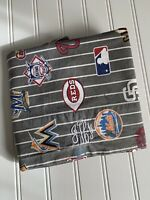 POTTERY BARN Teen PB MLB Pillowcase Gray Striped Baseball Logos Monogram Std