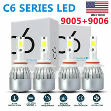 4x 9005 + 9006 Combo LED Headlight Kit 200W 50000LM Hi/Lo Beam Bulbs 6000K White