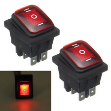 3 Position 6 Pin Rocker Switch LED Lighted DPDT On/Off/On Latching 16A 250V Red