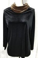 Women's Coldwater Creek Black Velvet Top Herringbone 2 Piece Pant Set USA PM