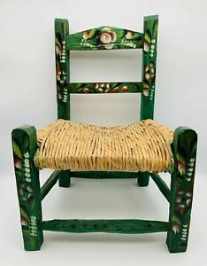 Vintage Child's Wooden Rush Ladder Back Chair Painted Primitive Green or Doll