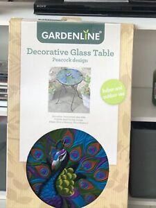 Decorative Folding Glass Table Garden/Conservatory Peacock Design New