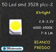 50 Led smd 3528 Plcc-2 Bianco Freddo ad alta luminosità 6000-6500K 7-8 LM