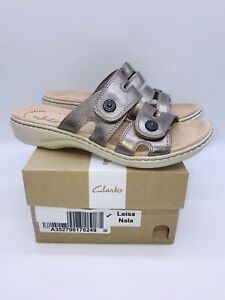 Clarks Collection Women's Leisa Nala Leather Slide Sandals - Pewter