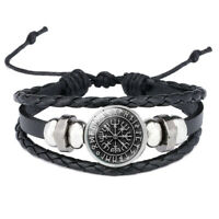 Leather Viking Vegvisir Rune Compass Bangle Bracelet Icelandic Stave Norse odin