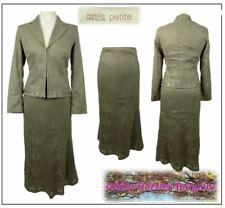 M&S Petite Collection Ladies Skirt Suit size 10 Faux Suede Mole Embroidery
