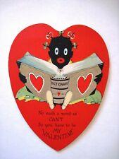 Adorable Black Americana Valentine Card w/ Girl Reading Dictionary   *