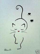 H.Schmidt katze*Mieze*cat gato pc strichzeichnung katzenaugen deko bild Aquarell