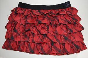 Neuf Ralph Lauren Enfant Fille à Carreaux Ruffles Jupe En Rouge Noir 14 Rare