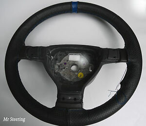 FITS 1964-1975 FORD MUSTANG PERFORATED LEATHER + BLUE STRAP STEERING WHEEL COVER