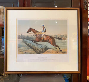 19th Century French Hand Colored Horse Racing (Jockey) Framed Print