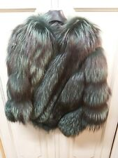 100% Green Fox Fur Coat Poncho, One Size Poncho in Volpe Verde