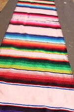 New Authentic Serape Mexican Table Runner Saltillo Sarape Colorful Striped